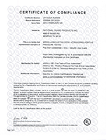 Security Door Guard UL Certificate of Compliance