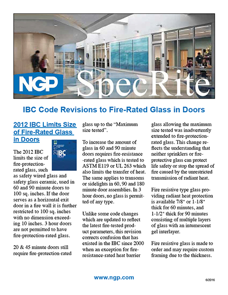 IBC Code Revision to Fire Rated Glass in Doors